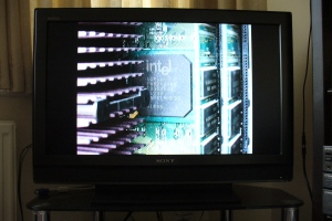 Intel chip photo on SONY TV